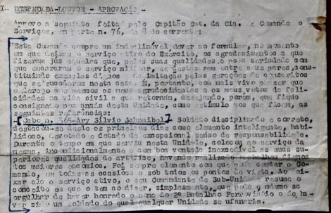 Carta de recomendação emitida pelo Exército Brasileiro