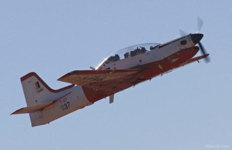 A Força Aérea esteve presente na exposição, com um T-25 e um T-27 Tucano